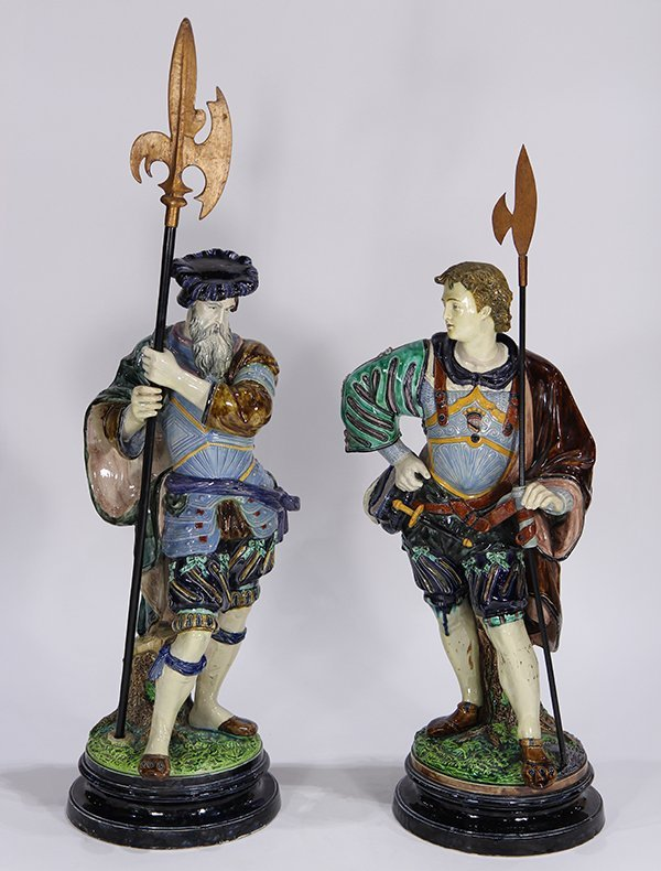 Large pair of Continental majolica figural groups, each