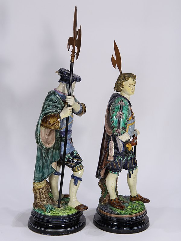 Large pair of Continental majolica figural groups, each - 4