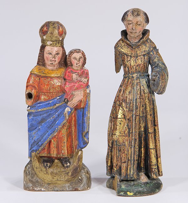 (lot of 2) Meso-American carved wood Santos figures,