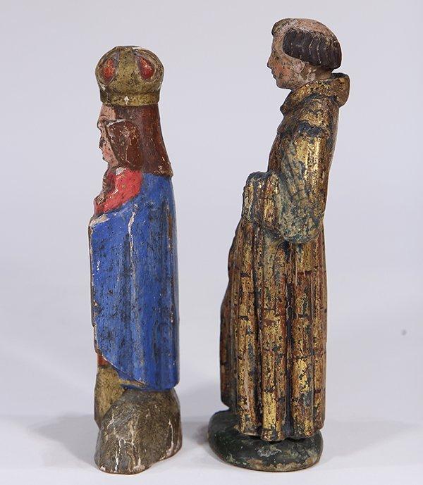 (lot of 2) Meso-American carved wood Santos figures, - 2