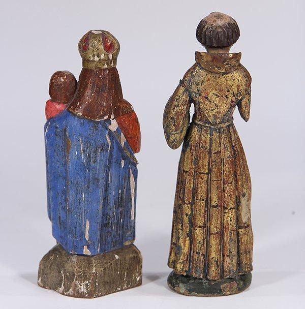 (lot of 2) Meso-American carved wood Santos figures, - 3