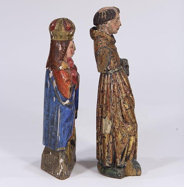 (lot of 2) Meso-American carved wood Santos figures, - 4