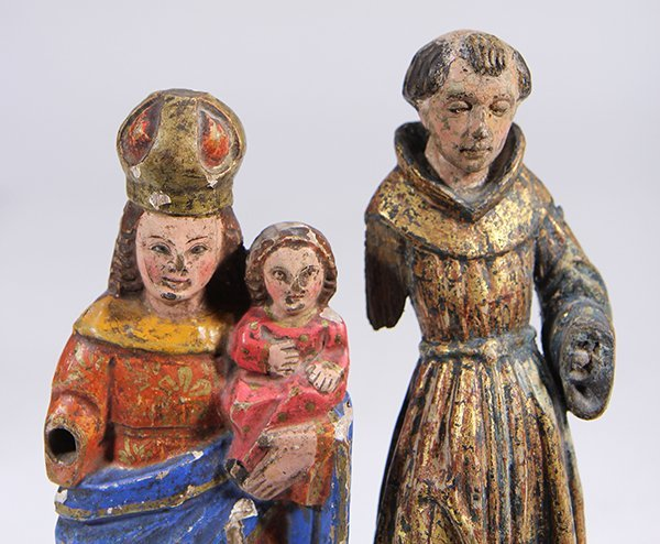 (lot of 2) Meso-American carved wood Santos figures, - 7