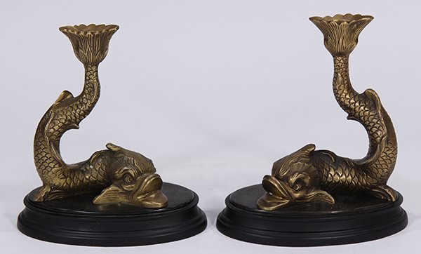Pair of Empire style gilt bronze figural candlesticks