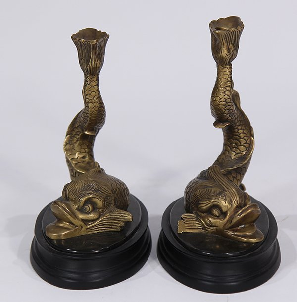 Pair of Empire style gilt bronze figural candlesticks - 2