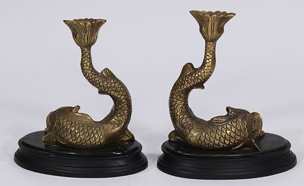 Pair of Empire style gilt bronze figural candlesticks - 3