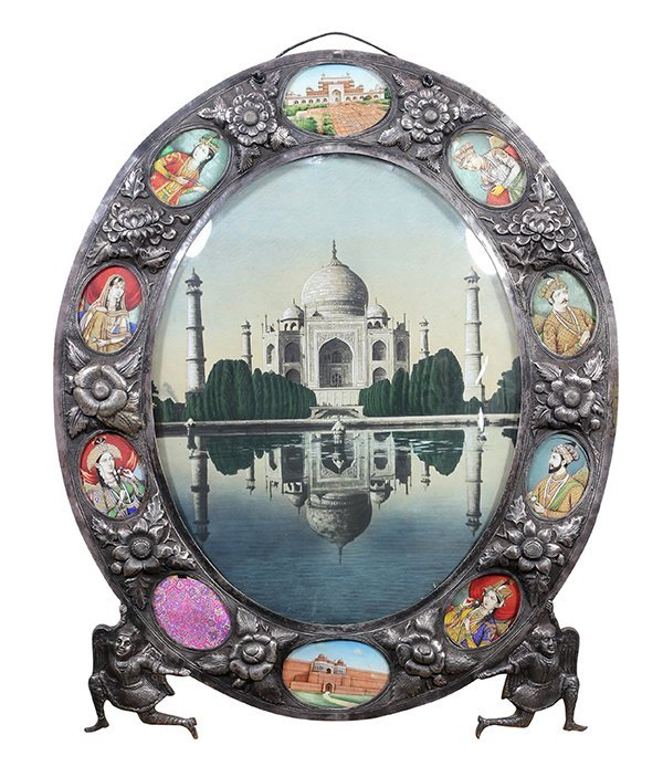 Indian silver Damascened framed image depicting the Taj