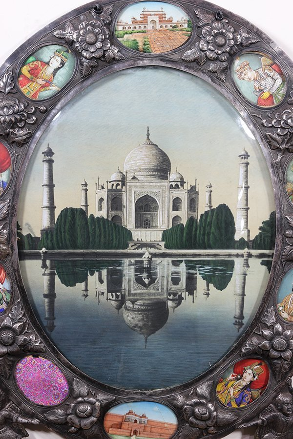 Indian silver Damascened framed image depicting the Taj - 2