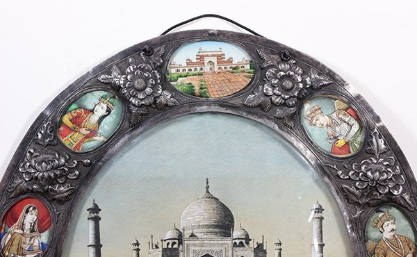 Indian silver Damascened framed image depicting the Taj - 3