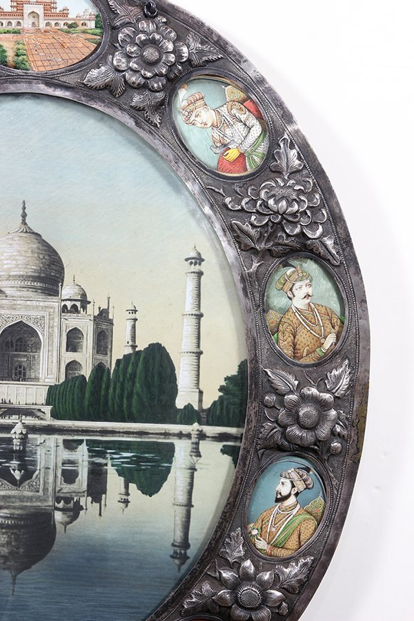 Indian silver Damascened framed image depicting the Taj - 4