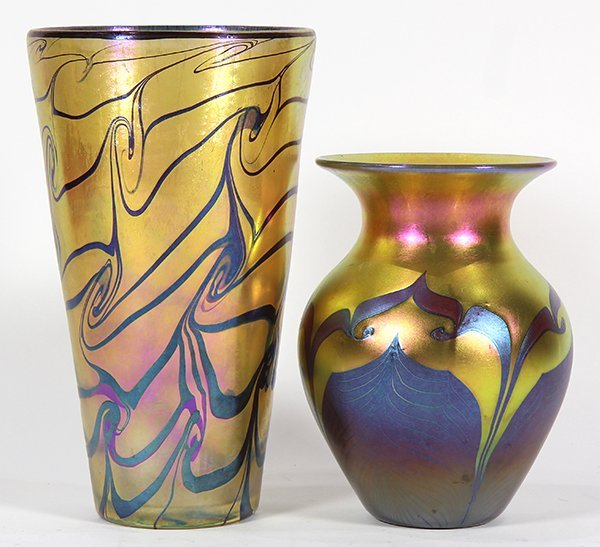 (lot of 2) Lundberg studios art glass group - 2