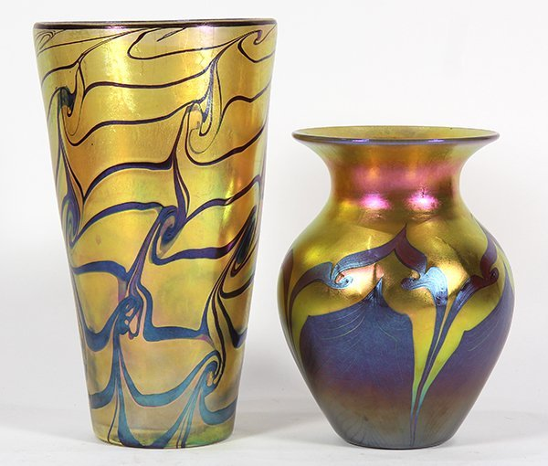 (lot of 2) Lundberg studios art glass group - 3