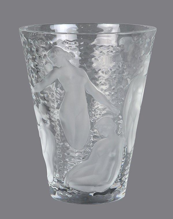 French Art Deco Lalique 'Ondines' glass vase - 3