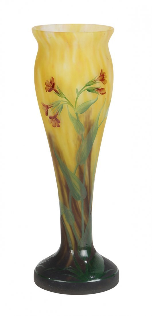 French paint decorated cameo vase Mado Nancy