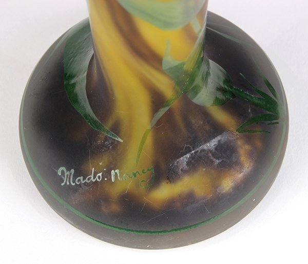 French paint decorated cameo vase Mado Nancy - 5