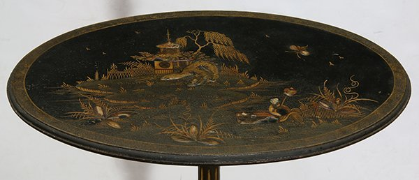 Chinoiserie decorated black lacquered tea table, having - 2