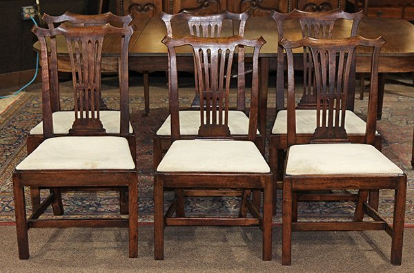 (lot of 6) Chippendale style fruitwood dining chairs,