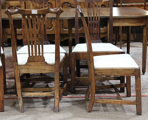 (lot of 6) Chippendale style fruitwood dining chairs, - 2