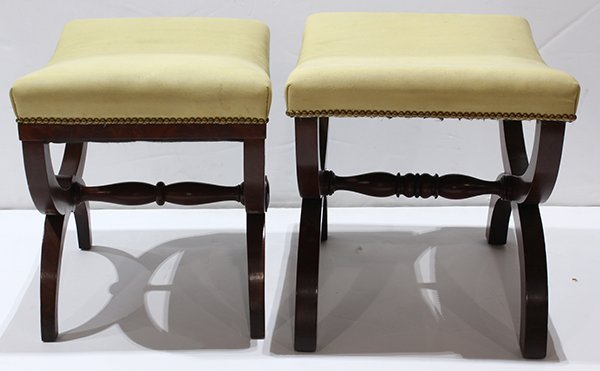 Pair of mahogany upholstered campaign style stools, - 2