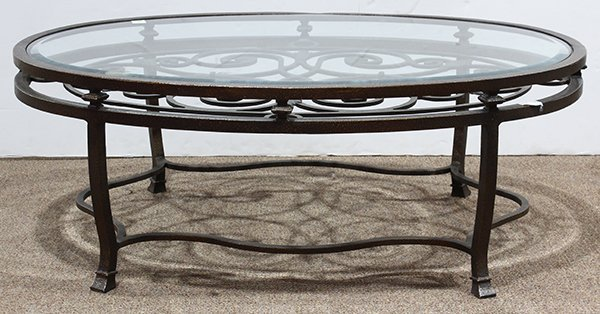 French bistro style oval coffee table having an inset