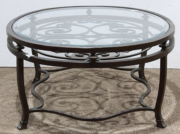 French bistro style oval coffee table having an inset - 2