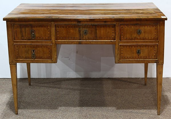 French Neoclassical marquetry decorated bureau plat,