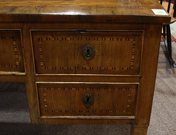 French Neoclassical marquetry decorated bureau plat, - 3