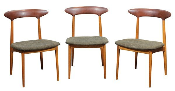 (lot of 6) Danish Modern style teak side chairs, - 2