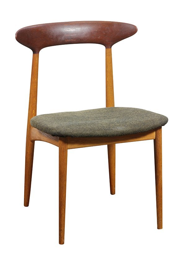 (lot of 6) Danish Modern style teak side chairs, - 3