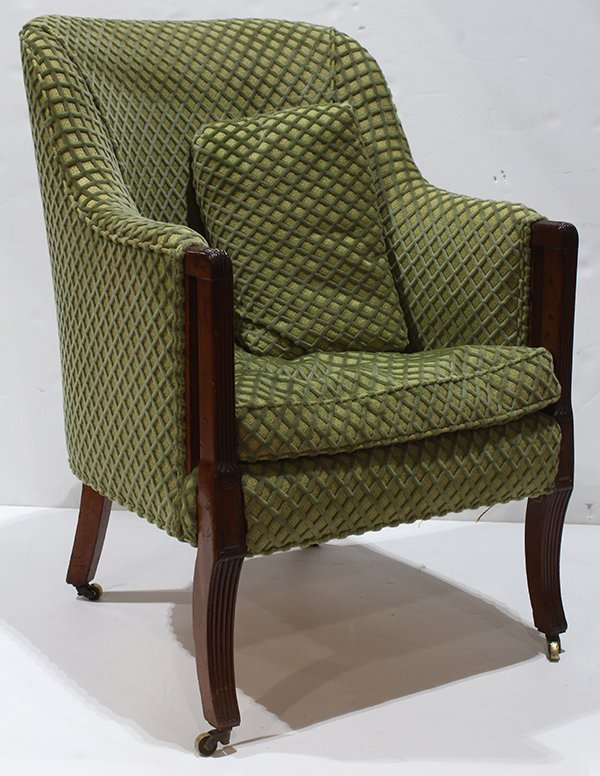 Art Deco style club chair, having a repeating velvet