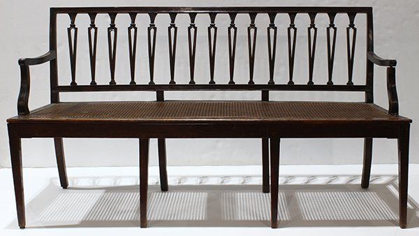 Federal bench, 19th century, the ebonized frame with