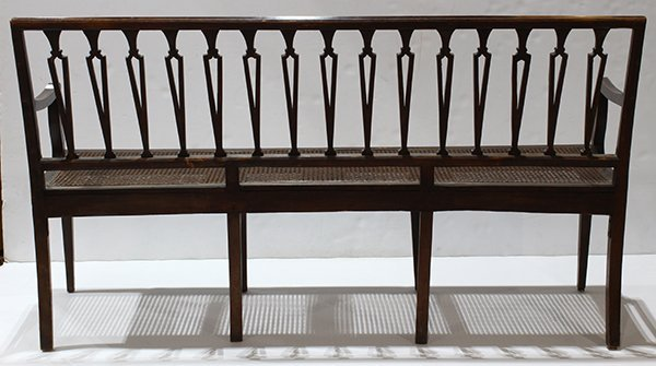 Federal bench, 19th century, the ebonized frame with - 2