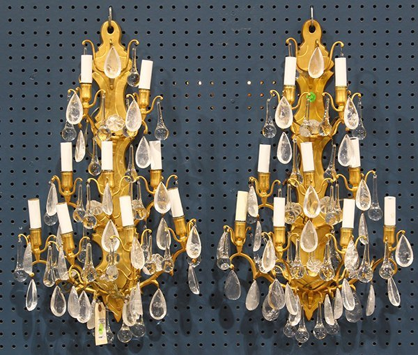 Pair of gilt bronze and rock crystal sconces, each