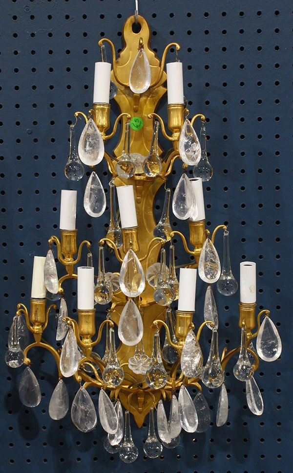 Pair of gilt bronze and rock crystal sconces, each - 2