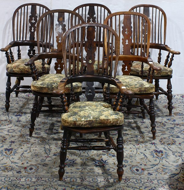 (lot of 6) Windsor high back elm armchairs, circa 1900,