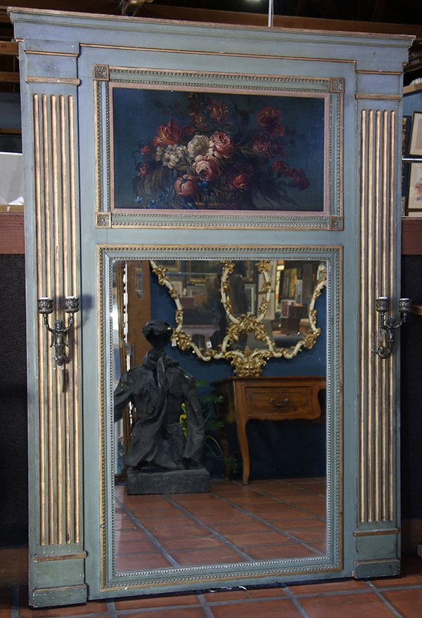 French Louis XVI style polychrome decorated trumeau