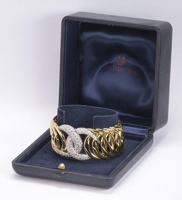 "Verdura ""Double Crescent"" diamond, 18K yellow gold and - 2"