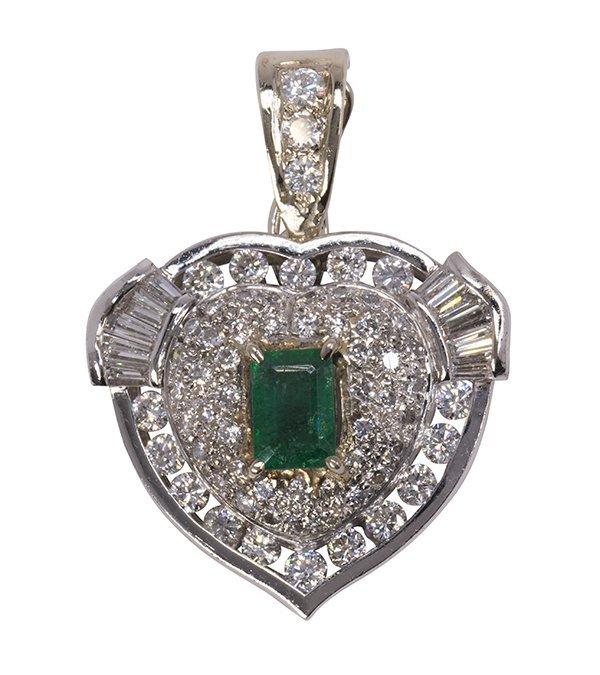 Emerald, diamond and 18k white gold pendant-enhancer