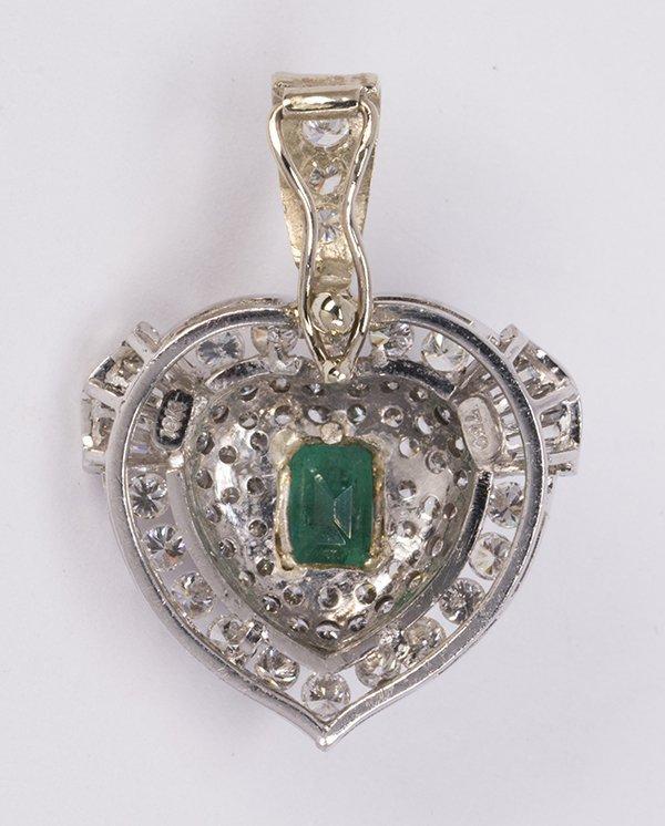 Emerald, diamond and 18k white gold pendant-enhancer - 2