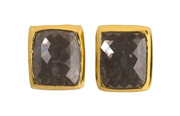 Pair of diamond and 18k yellow gold earrings
