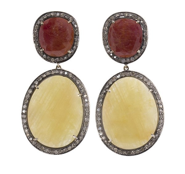 Pair of diamond, sapphire, ruby, 18k yellow gold and