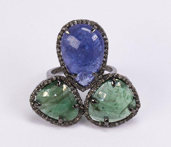 Emerald, tanzanite, diamond and sterling silver ring