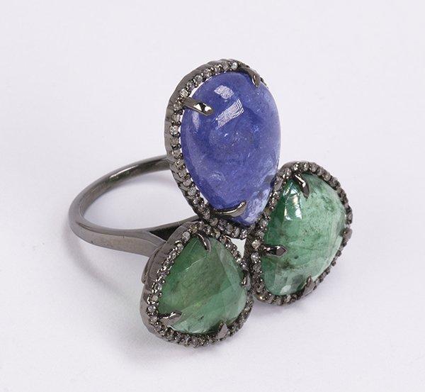 Emerald, tanzanite, diamond and sterling silver ring - 2
