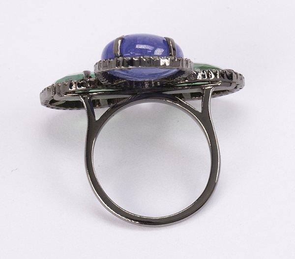 Emerald, tanzanite, diamond and sterling silver ring - 3