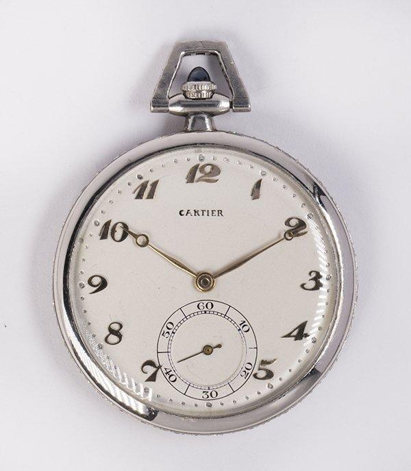 Diamond and platinum open face pocket watch