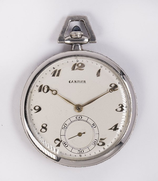 Diamond and platinum open face pocket watch