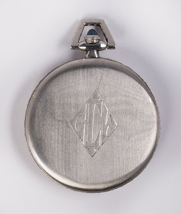 Diamond and platinum open face pocket watch - 2