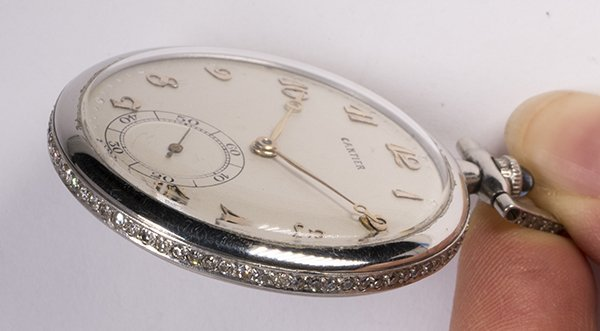 Diamond and platinum open face pocket watch - 3