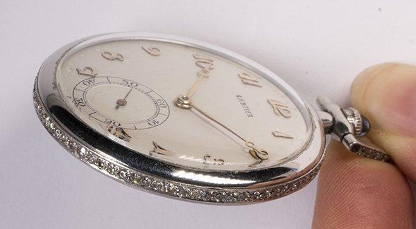 Diamond and platinum open face pocket watch - 3