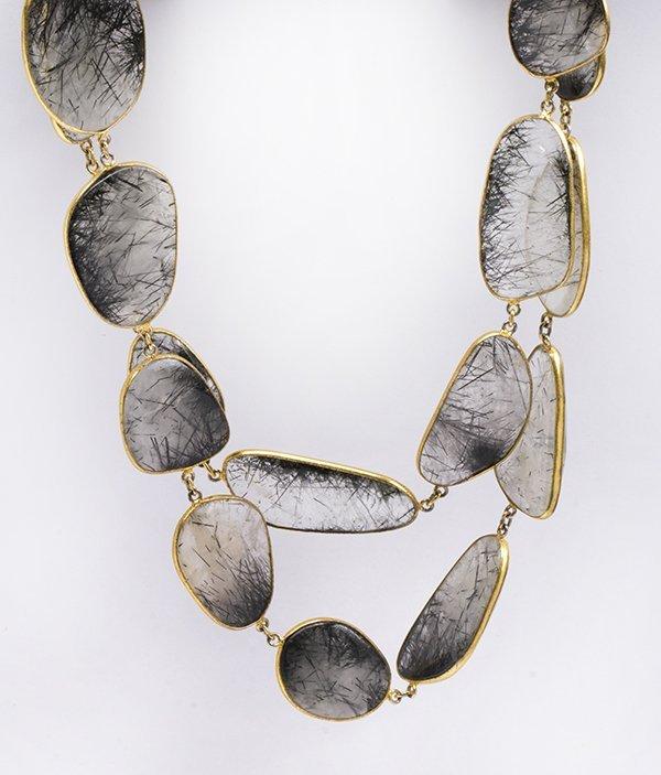 Tourmalinated quartz and silver gilt necklace